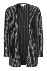 Topshop Cross Fire Black Striped Sequin Blazer By Wydlr Black