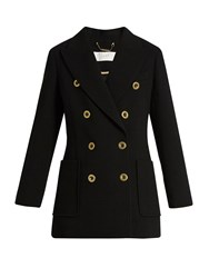 Chloe Double Breasted Wool Crepe Jacket Black