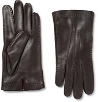 Loro Piana Suede Trimmed Leather Gloves Chocolate