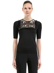 Rochas Dragonfly Cotton And Tulle Sweater Black