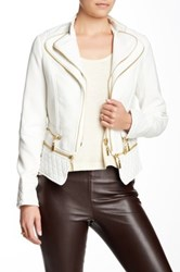 Fillmore Double Zip Faux Leather Trim Jacket White