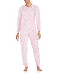 Roudelain Patterned Fleece Hooded Coverall Pink