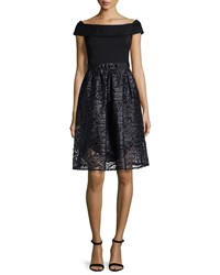 Rickie Freeman For Teri Jon Off The Shoulder Combo Lace Cocktail Dress Black