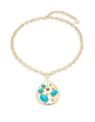 Rj Graziano Goldtone Teardrop And Stone Pendant Necklace Turquoise