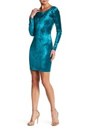 Love Ady Velvet Long Sleeve Bodycon Dress Blue