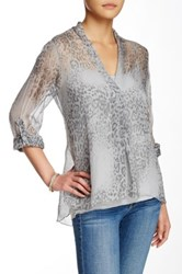 Luma Roll Sleeve Silk Blouse Gray