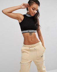 Shade London Crop Top With Tape Logo Black