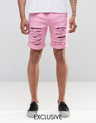 Liquor And Poker Distressed Shorts 34 Pink