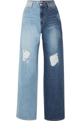 Sjyp Two Tone Distressed High Rise Wide Leg Jeans Mid Denim Gbp