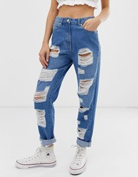 Parisian High Waisted Jeans With Extreme Distressing Detail Blue