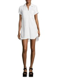 7 For All Mankind Collared Denim Dress Luxe Lounge White