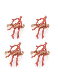 L'objet Set Of Four Snake And Coral Napkin Rings Gold