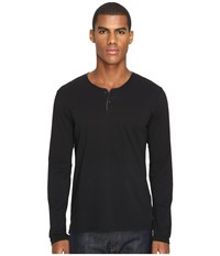 The Kooples Light Cotton And Washable Leather Henley Black Men's Long Sleeve Pullover