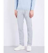 Hugo Boss Tapered Stretch Cotton Chinos Open Grey