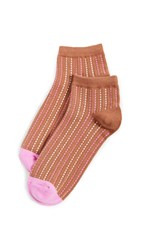 Madewell Stitched Stripe Anklet Socks Rusted Tin Multi