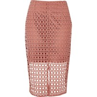 River Island Womens Pink Circle Lace Pencil Skirt