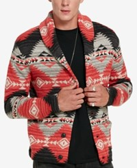 Denim And Supply Ralph Lauren Men's Southwestern Cardigan Red