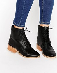 Asos Amar Leather Lace Up Brogue Boots Black Leather