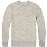Officine Generale Japanese Waffle Crew Sweat Dark Grey Heather