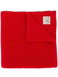Pringle Of Scotland Ribbed Logo Cashmere Scarf In Red