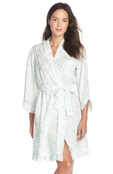 Eileen West 'Early' Short Wrap Robe Winter White Blue Embroidery