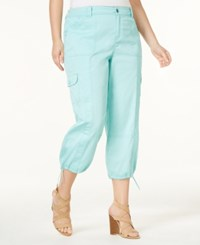 Style And Co Plus Size Capri Cargo Pants Only At Macy's Aqua Brook