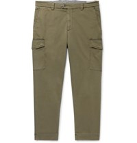 Brunello Cucinelli Tapered Cotton Blend Twill Cargo Trousers Green
