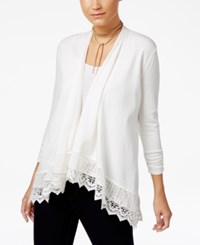 Style And Co Open Front Crochet Hem Cardigan Only At Macy's Winter White