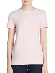 Saks Fifth Avenue Black Stretch Cotton Tee Pink