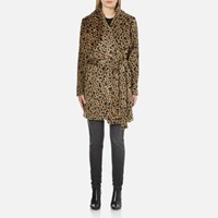 Michael Michael Kors Women's Drape Front Wrap Coat Dark Camel Multi