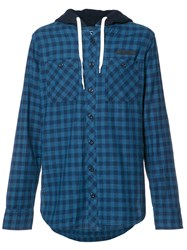 Prps Checked Buttoned Hoodie Blue