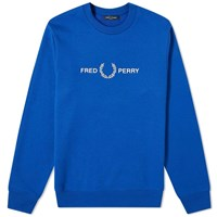 Fred Perry Authentic Embroidered Logo Crew Sweat Blue