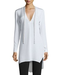 Halston Long Sleeve Silk Tunic W Embellished Ties Chalk
