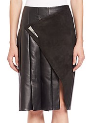 Prabal Gurung Leather And Suede Slit Skirt Black