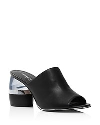 Kenneth Cole Women's Louise Leather And Lucite Heel Mules 100 Exclusive Black