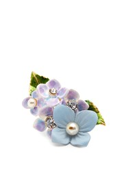 Dolce And Gabbana Hydrangea Embellished Ring Blue