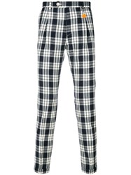 Manuel Ritz Checked Slim Fit Trousers Blue