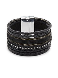 Saks Fifth Avenue Layered Braided Bracelet Black Silver