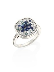 Plev Diamond Blue Sapphire And 18K White Gold Ring