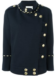 Balmain Pierre Double Breasted Military Jacket Blue