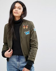 Brave Soul Khaki Bomber Jacket With Butterfly Badges Khaki Green