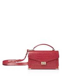 The Kooples Emily Croc Embossed Leather Medium Crossbody Red