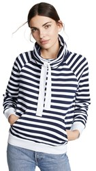 Stateside Funnel Neck Sweatshirt Navy Stripe