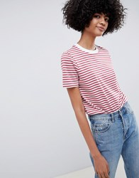 Selected Femme Stripe Boxy T Shirt Red