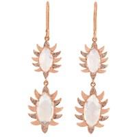 Meghna Jewels Double Drop Marquise Earring Moonstone Alt White Rose Gold