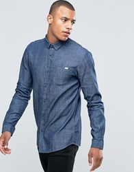 Jack And Jones Overdye Chambray Shirt Light Blue Denim Black