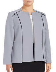 Nipon Boutique Plus Open Front Crepe Blazer Silver