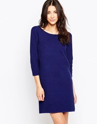 Ichi 3 4 Sleeve A Line Dress Blue