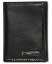 Geoffrey Beene Leather Credit Card Trifold Wallet Black
