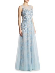Rickie Freeman For Teri Jon Embellished Appliqued Tulle Gown Blue